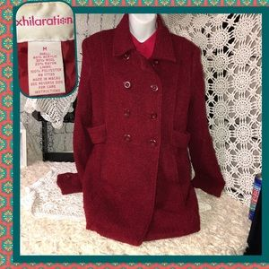 Xhilaration Cranberry Wool Mix 3/4 Coat Size M